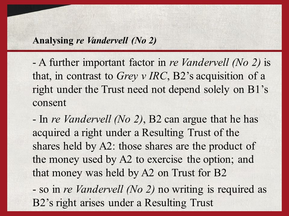 Analysing re Vandervell (No 2)