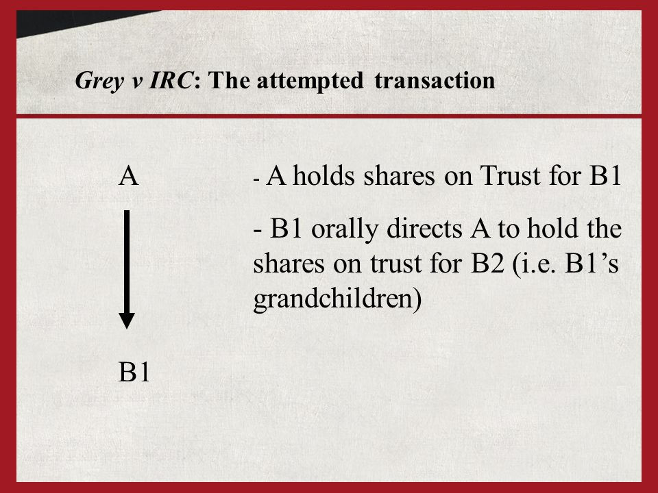 Grey v IRC: The attempted transaction