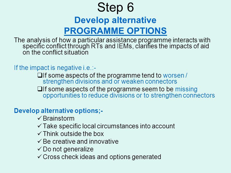 Step 6 Develop alternative PROGRAMME OPTIONS