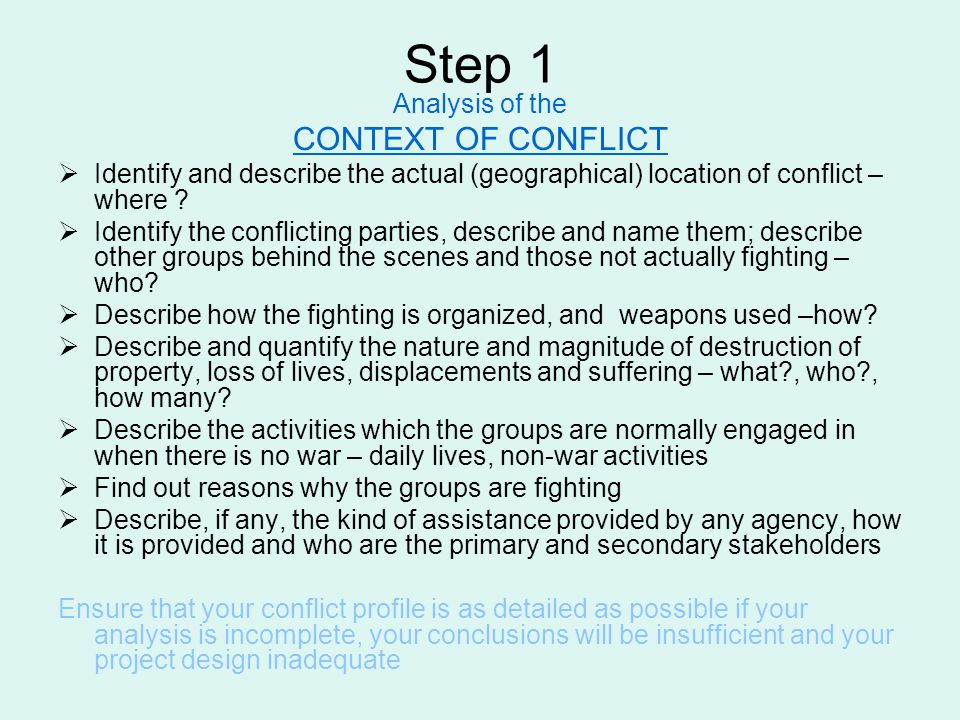 Step 1 CONTEXT OF CONFLICT Analysis of the