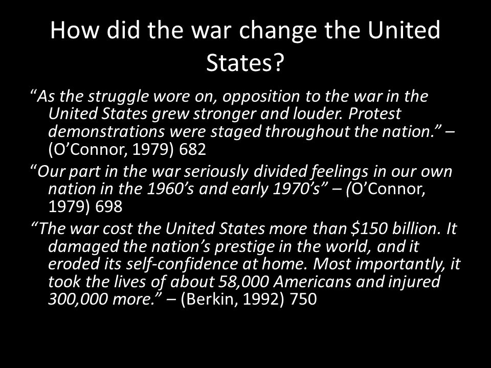 How did the war change the United States