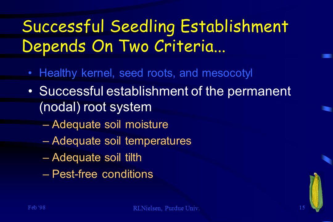 Successful Seedling Establishment Depends On Two Criteria...
