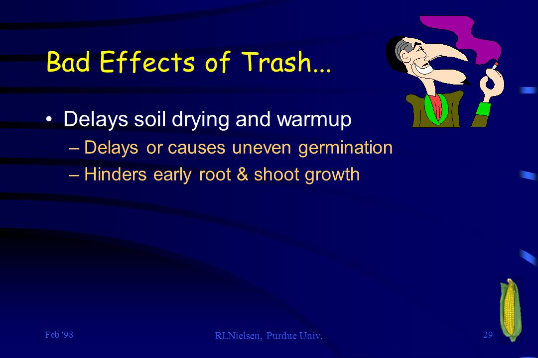 Bad Effects of Trash... Delays soil drying and warmup