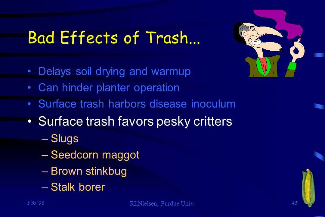 Bad Effects of Trash... Surface trash favors pesky critters