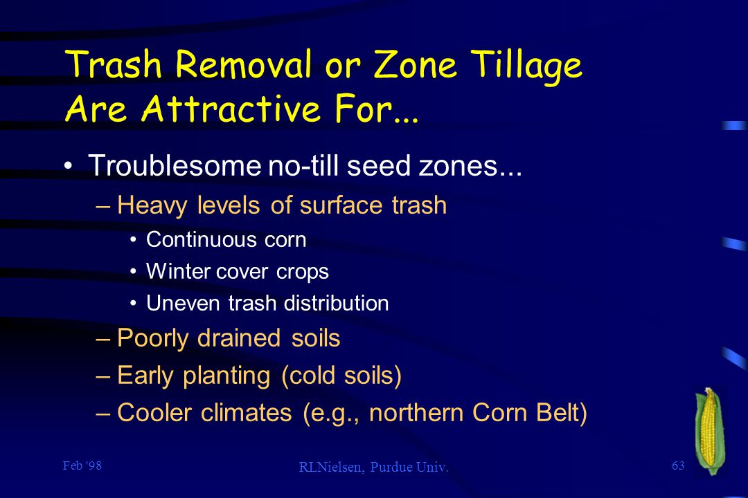 Trash Removal or Zone Tillage Are Attractive For...