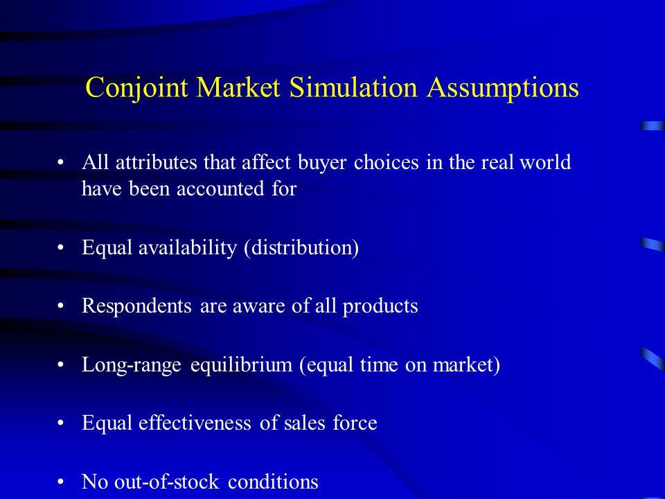 Conjoint Market Simulation Assumptions