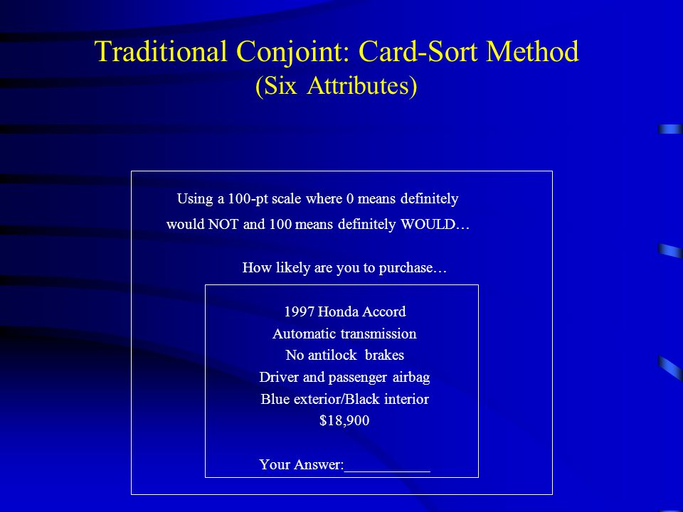 Traditional Conjoint: Card-Sort Method (Six Attributes)