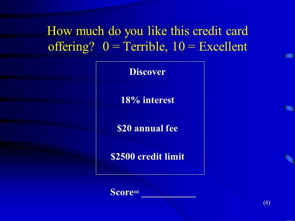 $2500 credit limit Score= ___________