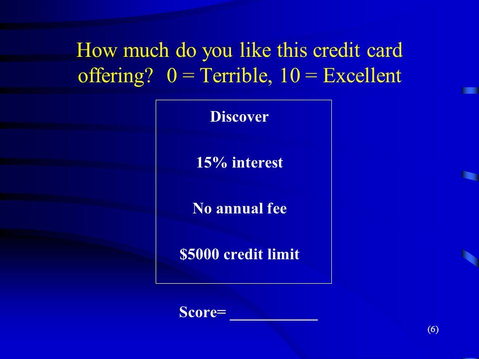 $5000 credit limit Score= ___________