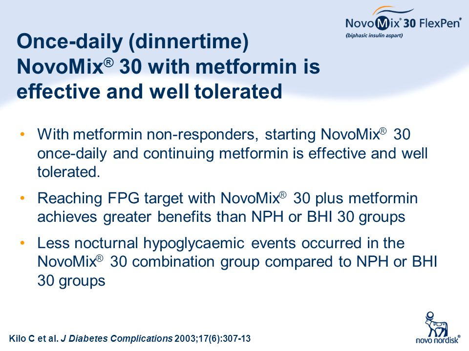 Once-daily (dinnertime) NovoMix® 30 with metformin is effective and well tolerated