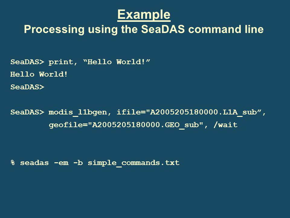 Processing using the SeaDAS command line