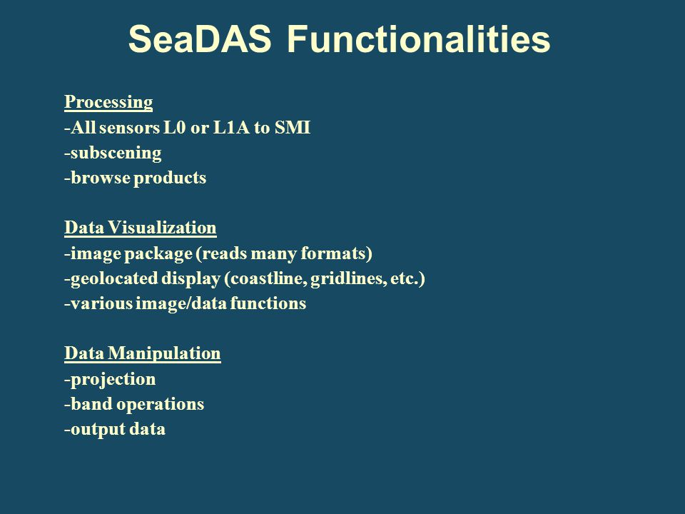 SeaDAS Functionalities