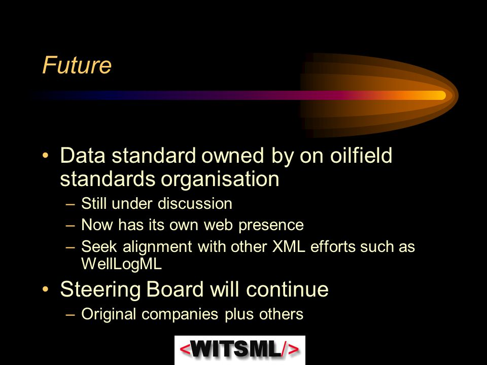 Future Data standard owned by on oilfield standards organisation
