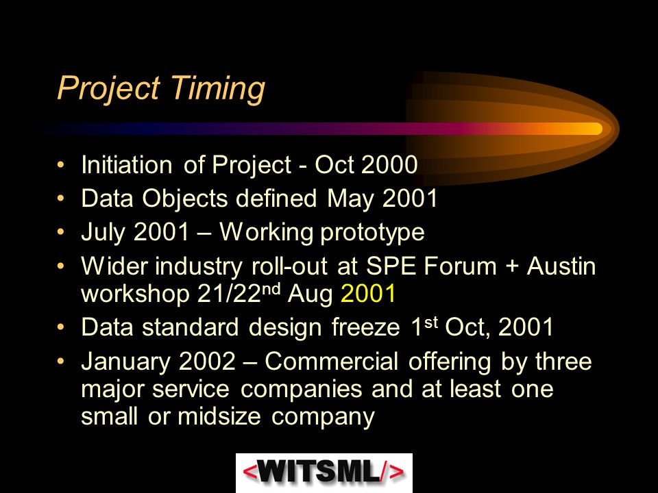 Project Timing Initiation of Project - Oct 2000