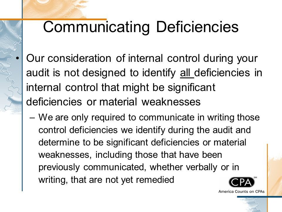 Communicating Deficiencies