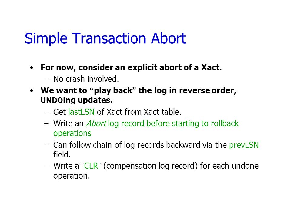 Simple Transaction Abort