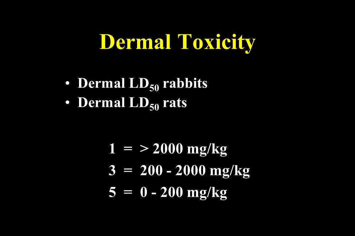 Dermal Toxicity 1 = > 2000 mg/kg 1 = > 2000 mg/kg