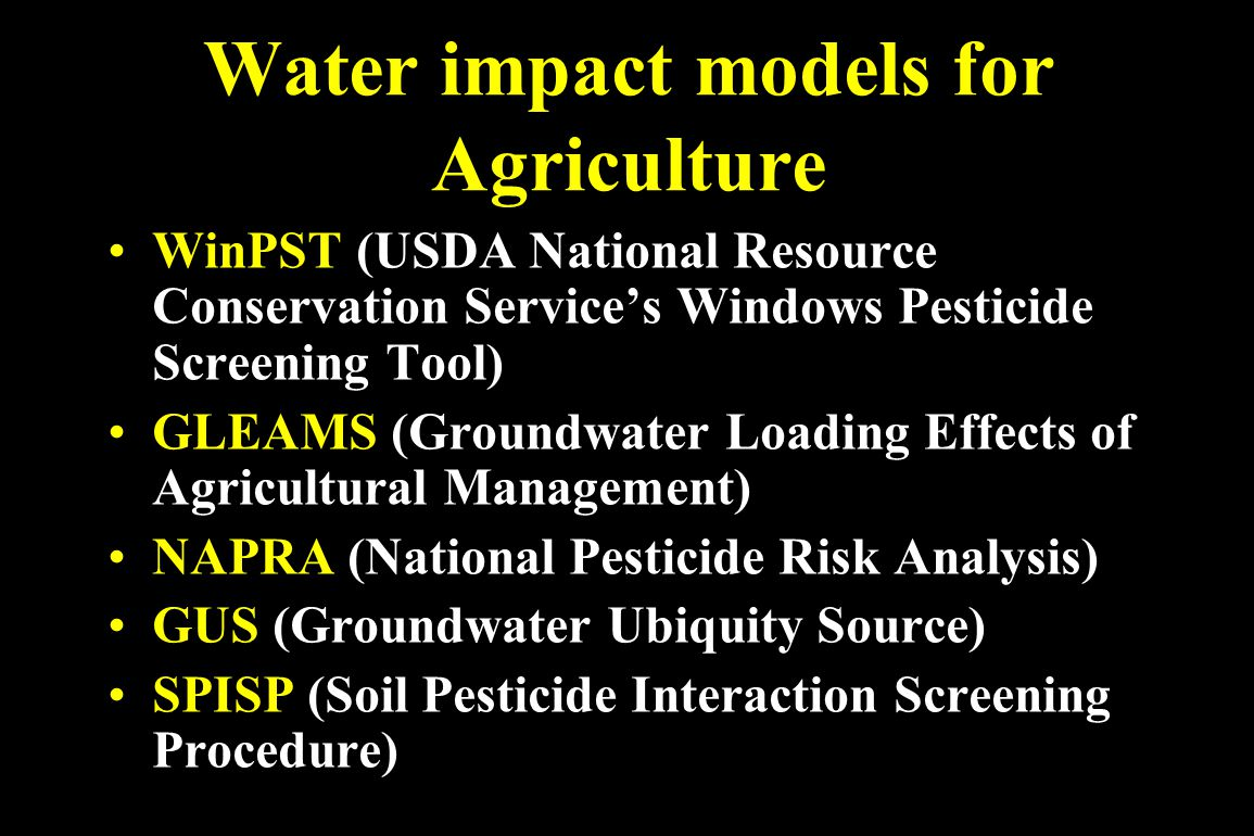 Water impact models for Agriculture