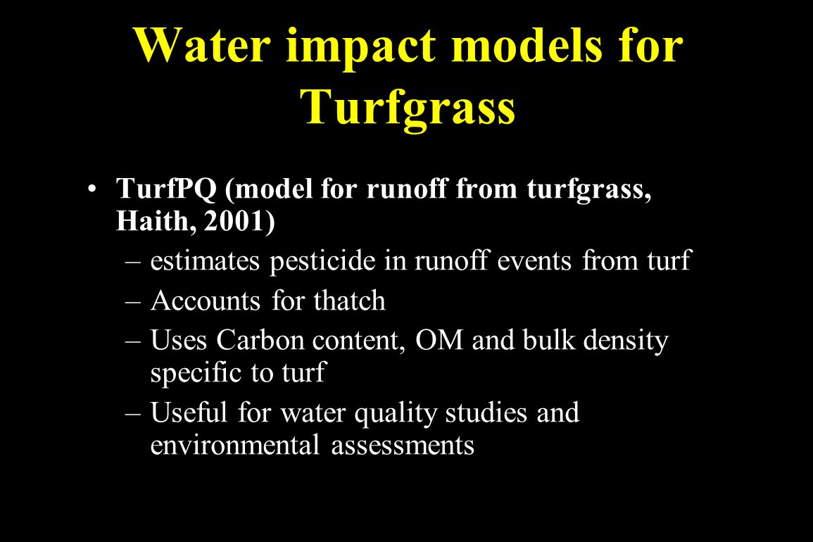Water impact models for Turfgrass