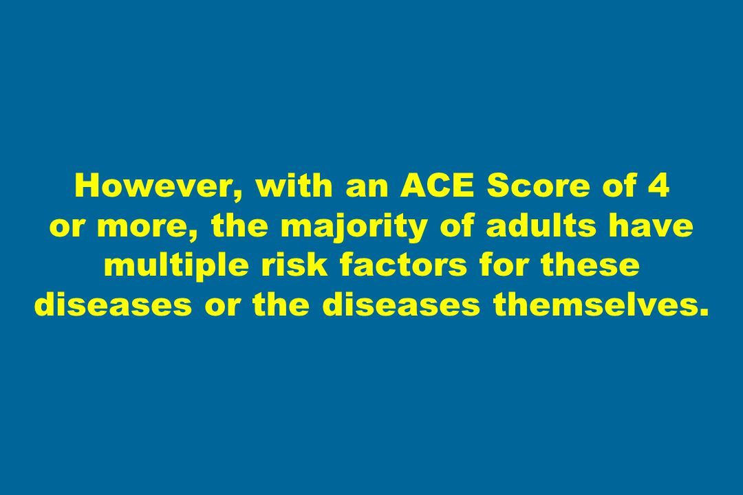 However, with an ACE Score of 4 or more, the majority of adults have multiple risk factors for these diseases or the diseases themselves.