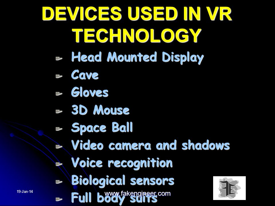 DEVICES USED IN VR TECHNOLOGY