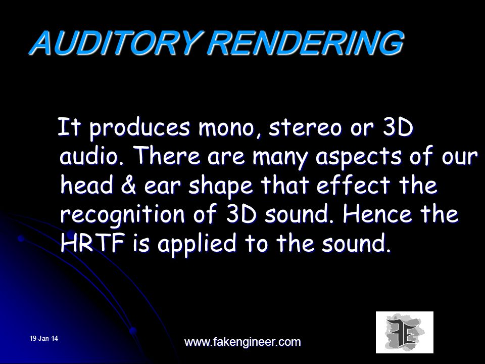 AUDITORY RENDERING