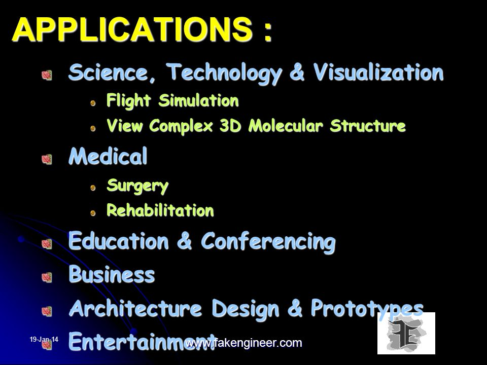 APPLICATIONS : Science, Technology & Visualization Medical