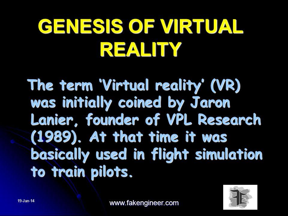 GENESIS OF VIRTUAL REALITY