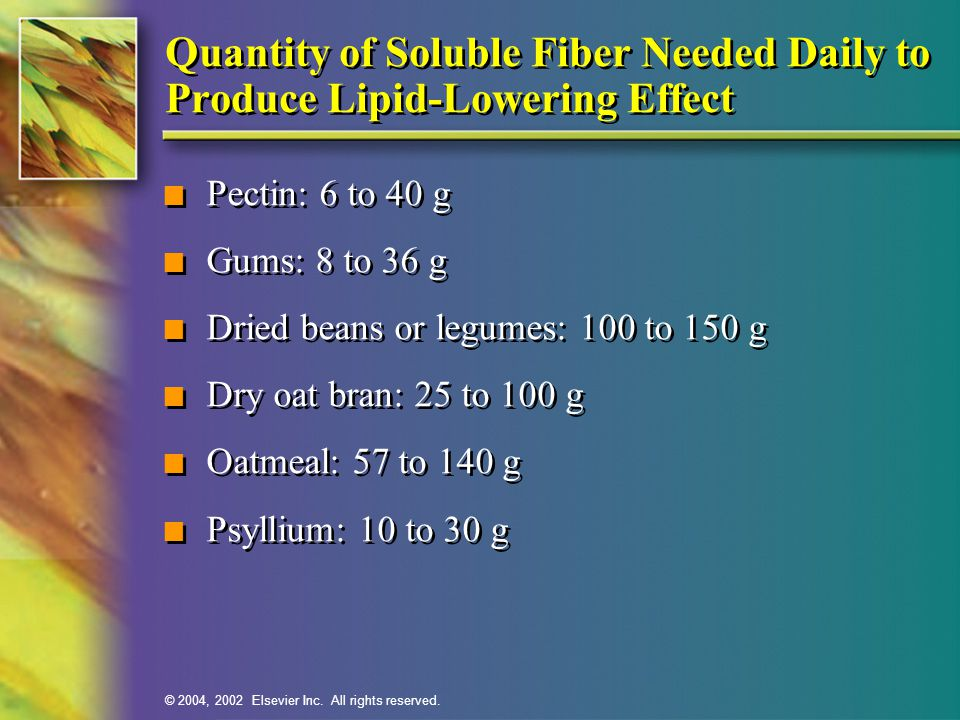 Quantity of Soluble Fiber Needed Daily to Produce Lipid-Lowering Effect