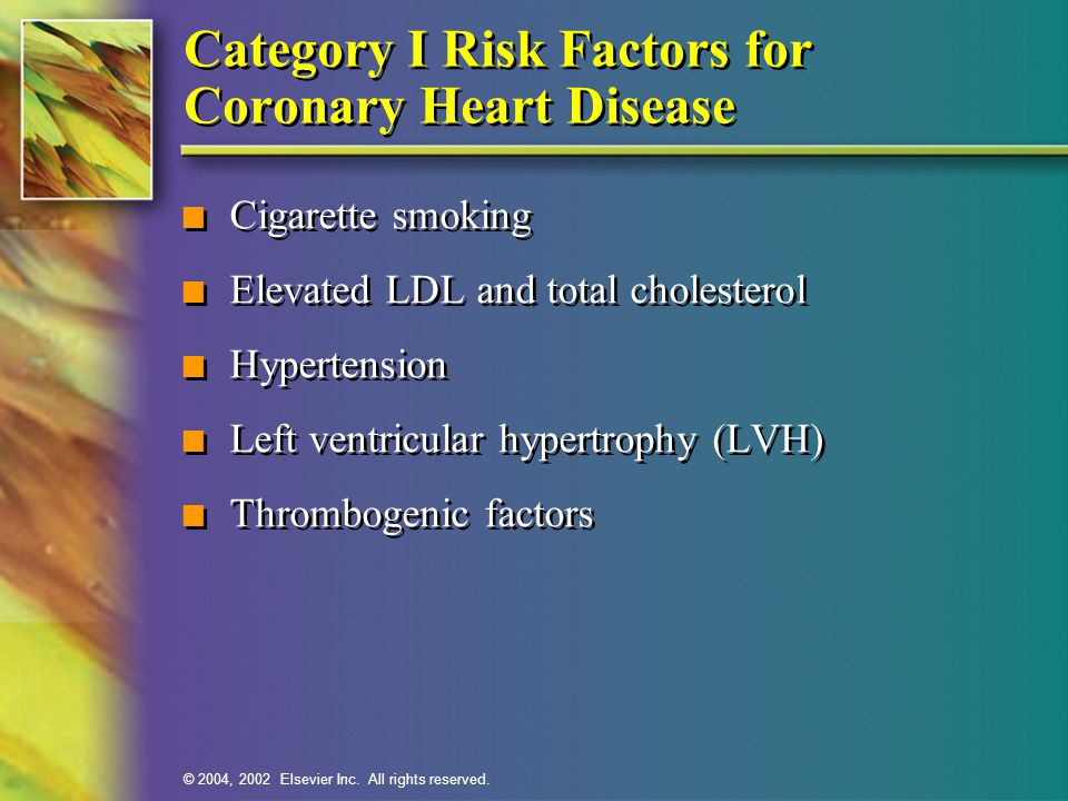 Category I Risk Factors for Coronary Heart Disease