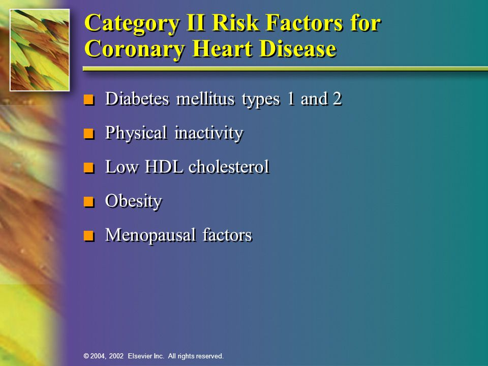 Category II Risk Factors for Coronary Heart Disease