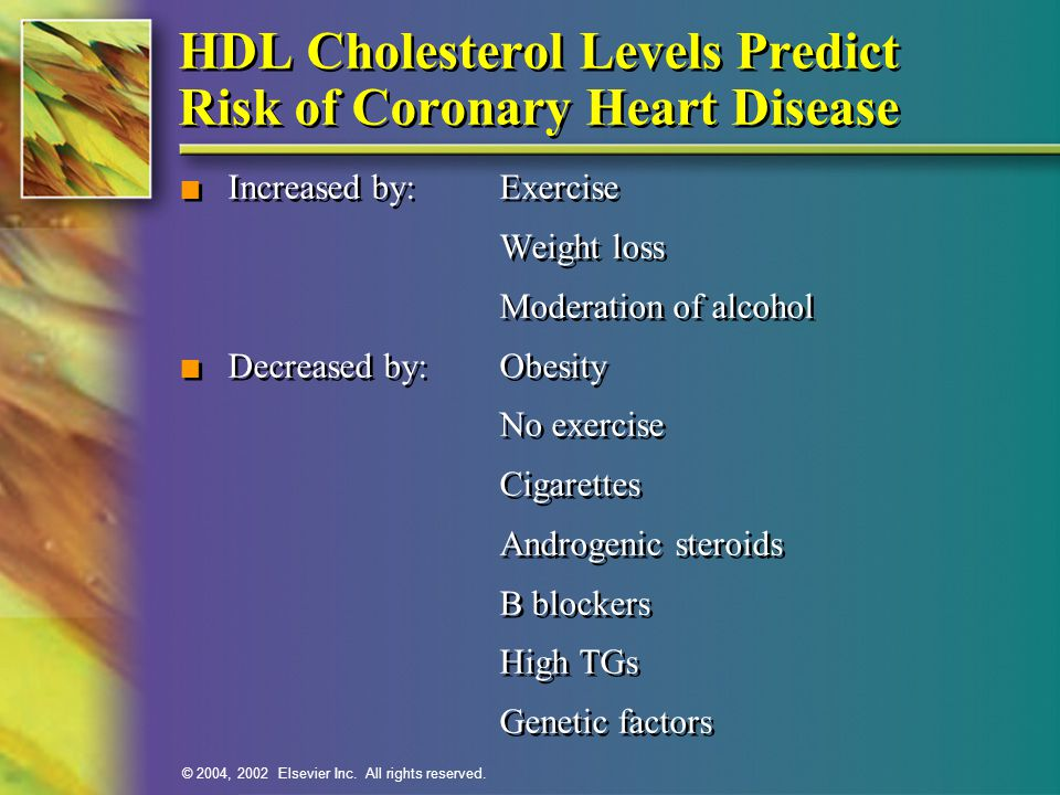 HDL Cholesterol Levels Predict Risk of Coronary Heart Disease
