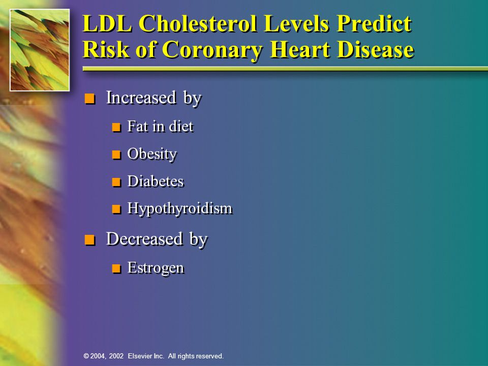 LDL Cholesterol Levels Predict Risk of Coronary Heart Disease