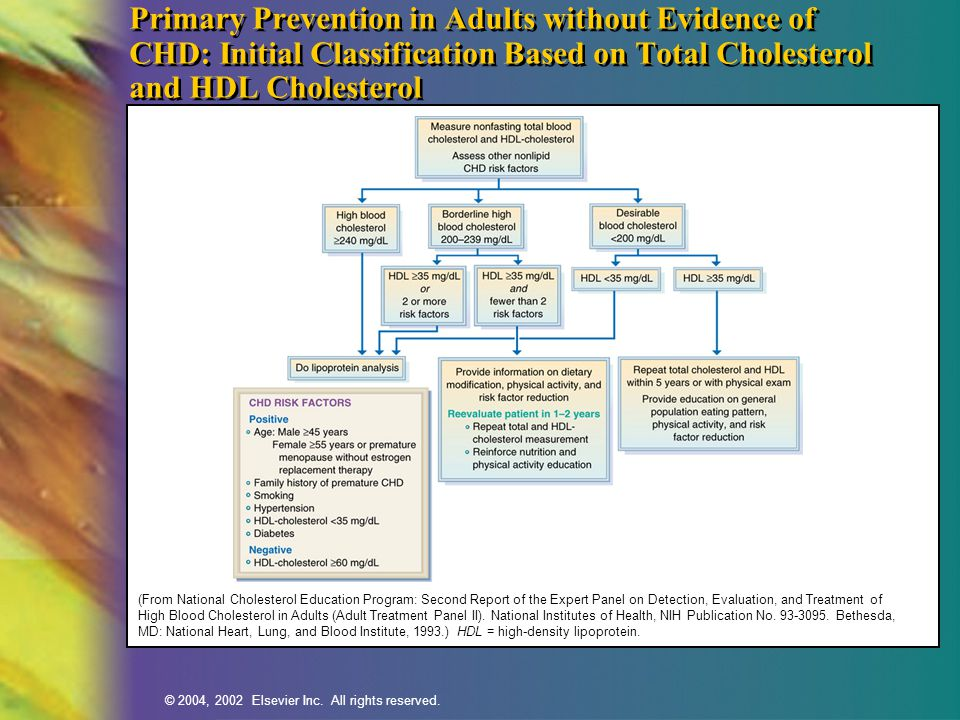 Primary Prevention in Adults without Evidence of CHD: Initial Classification Based on Total Cholesterol and HDL Cholesterol
