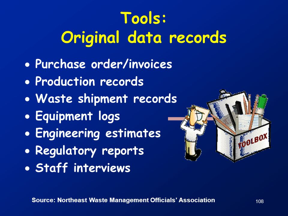 Tools: Original data records