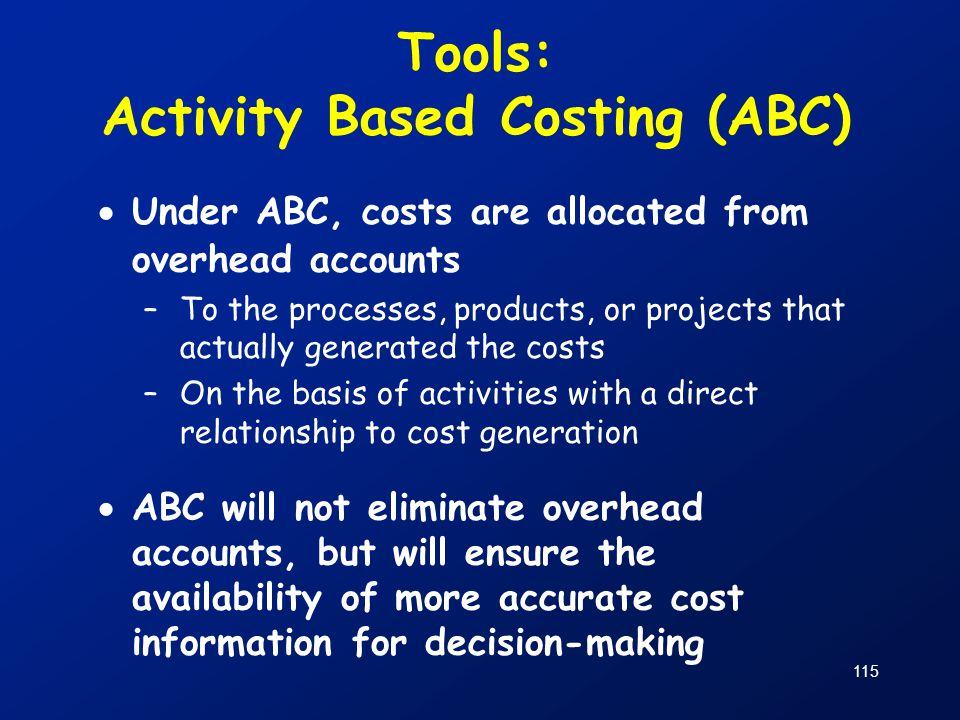 Tools: Activity Based Costing (ABC)