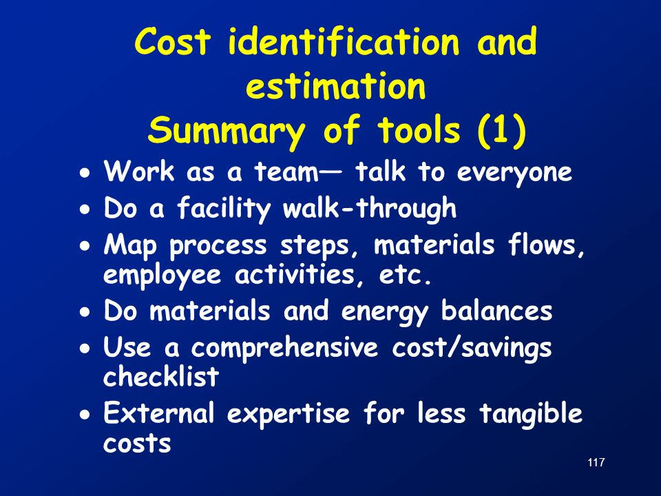 Cost identification and estimation Summary of tools (1)