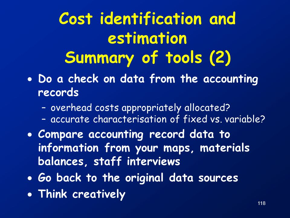 Cost identification and estimation Summary of tools (2)