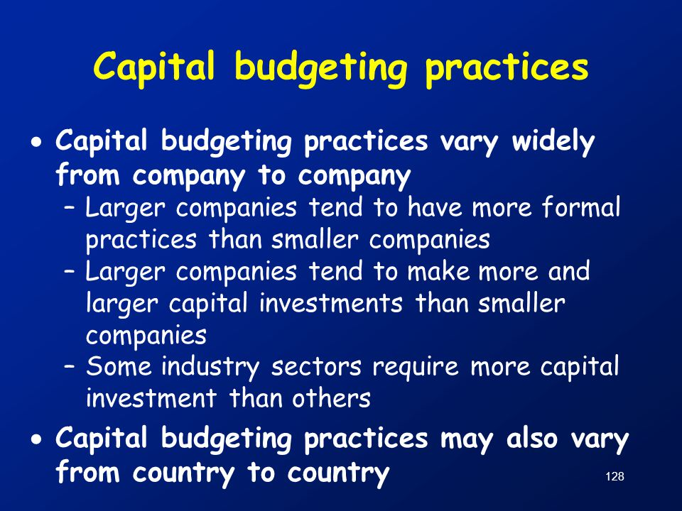 Capital budgeting practices
