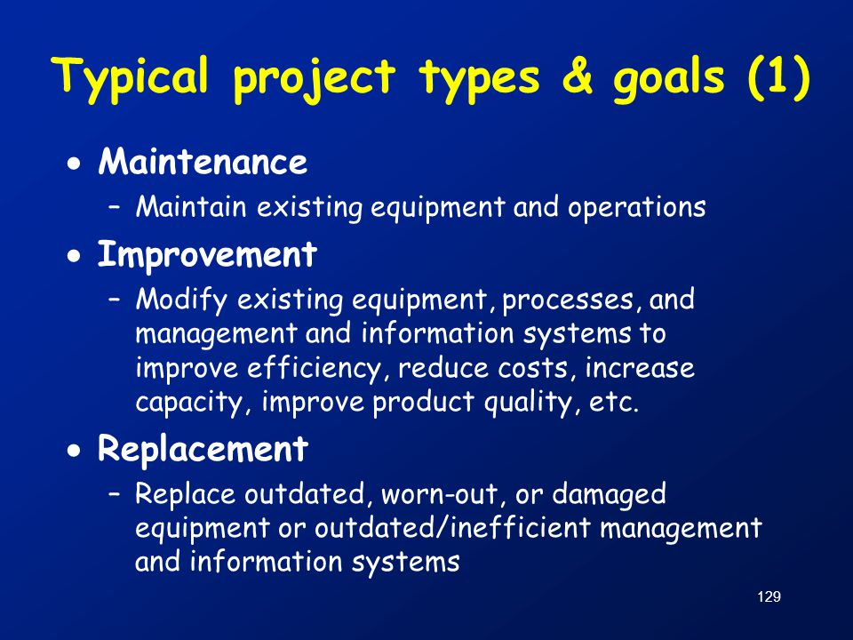 Typical project types & goals (1)