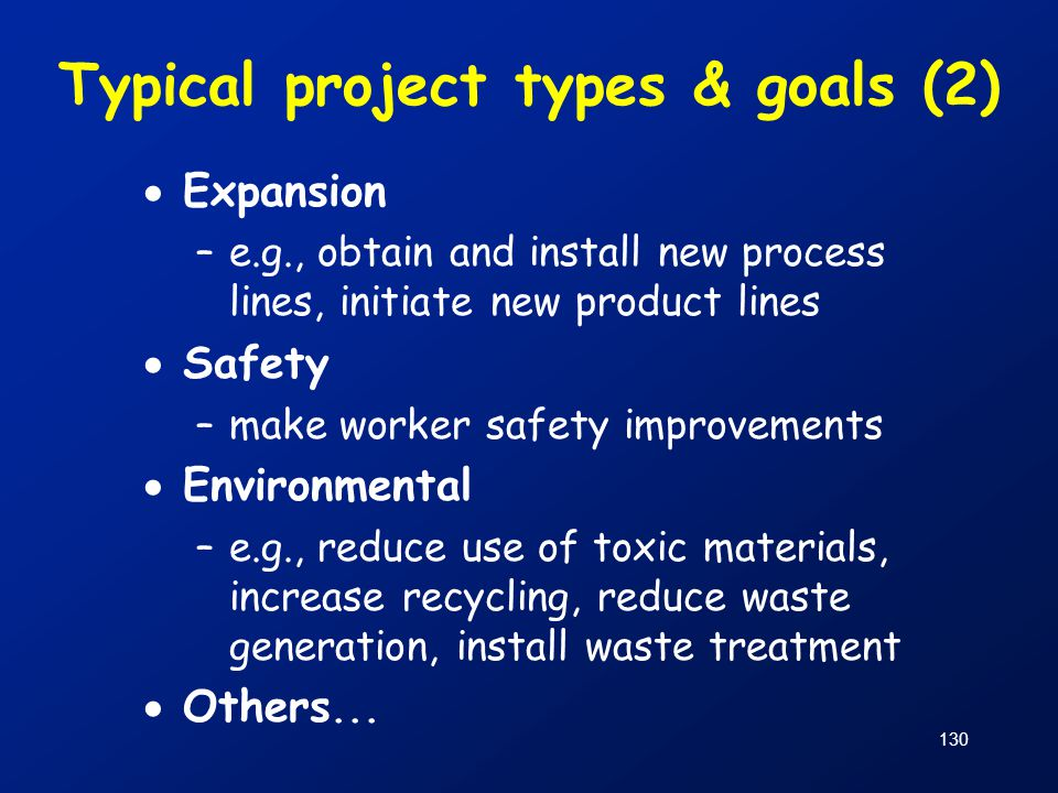 Typical project types & goals (2)