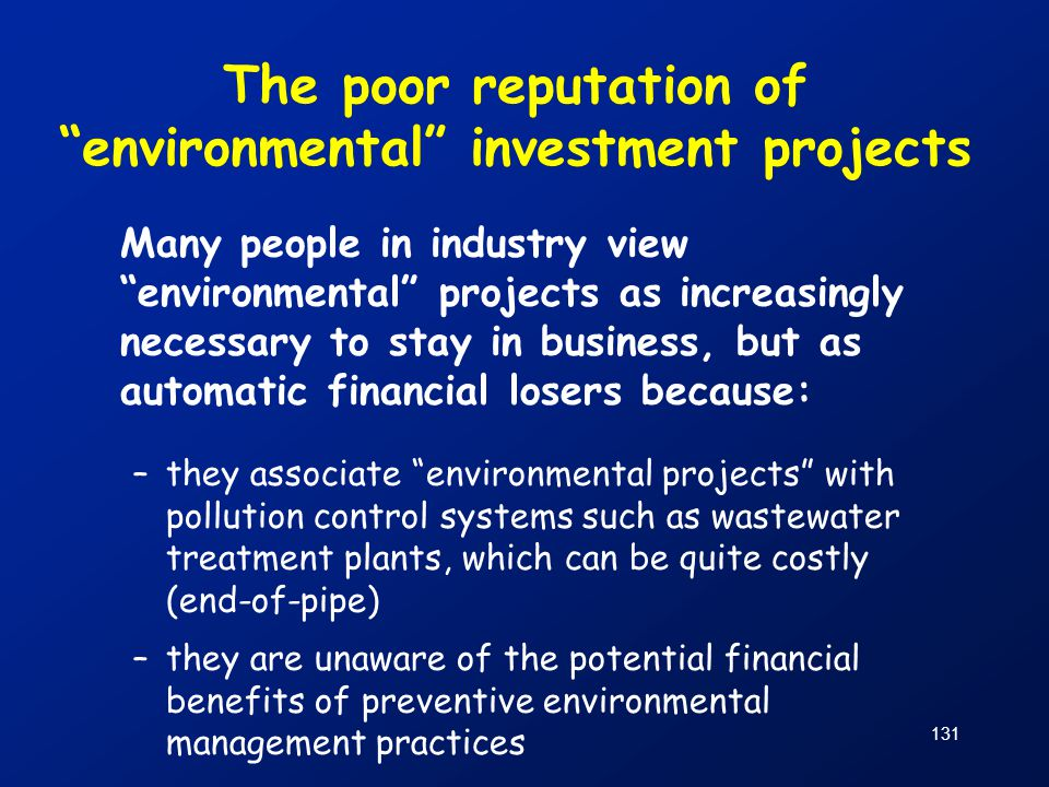 The poor reputation of environmental investment projects