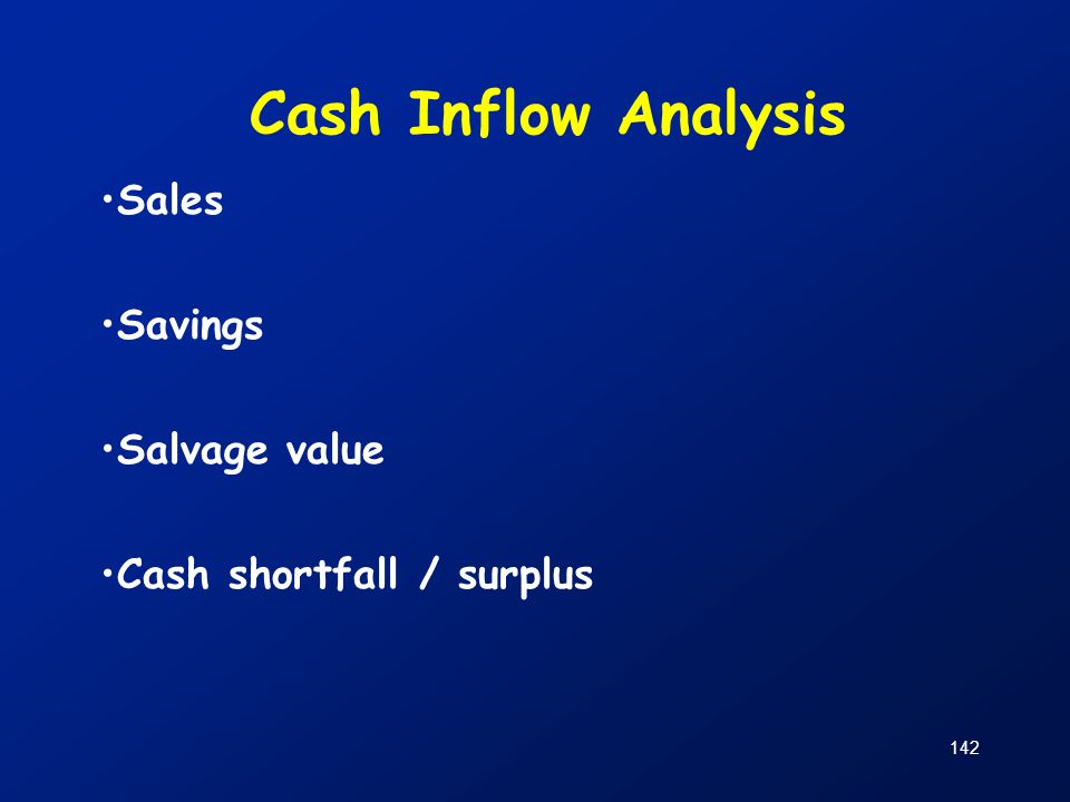 Cash Inflow Analysis Sales Savings Salvage value