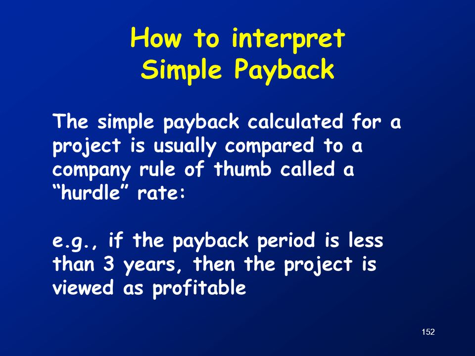 How to interpret Simple Payback