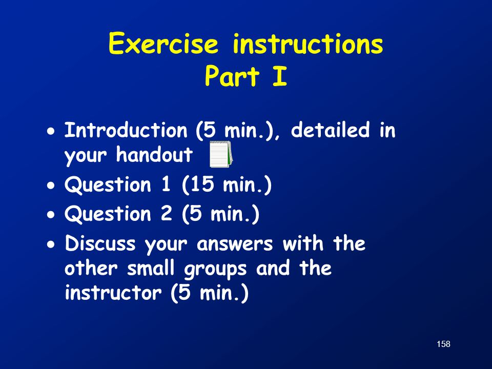 Exercise instructions Part I