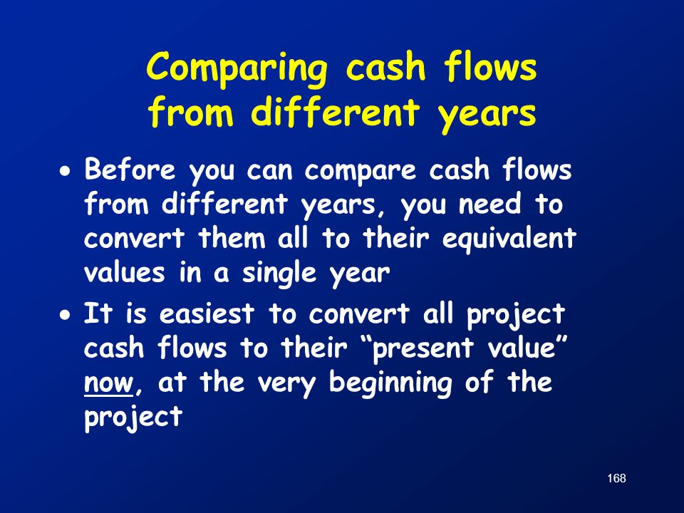 Comparing cash flows from different years