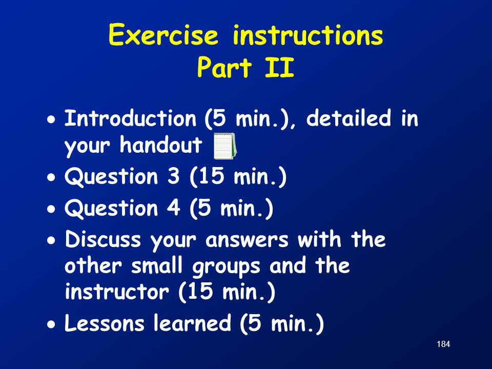 Exercise instructions Part II