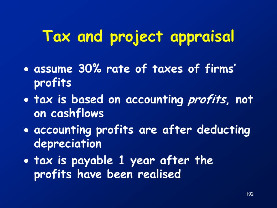Tax and project appraisal