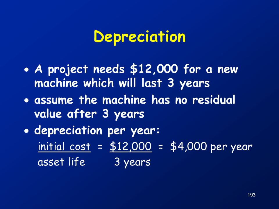 Depreciation A project needs $12,000 for a new machine which will last 3 years. assume the machine has no residual value after 3 years.