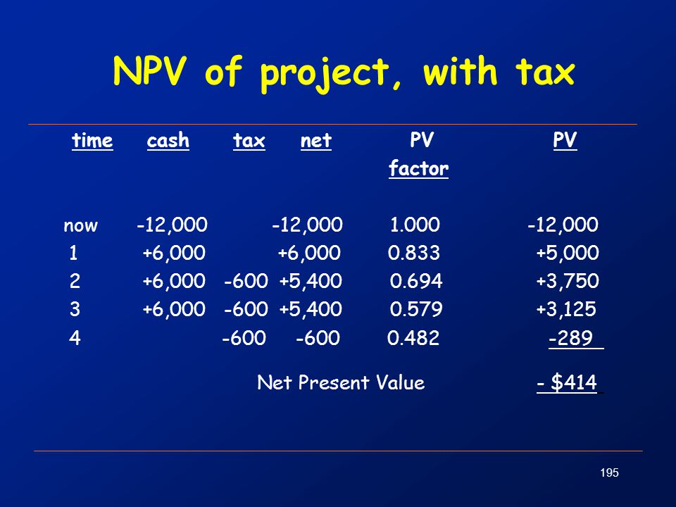 NPV of project, with tax time cash tax net PV PV factor